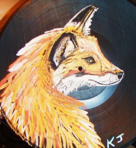 Baby Fox Original Pastel Recycled Record Wall hang