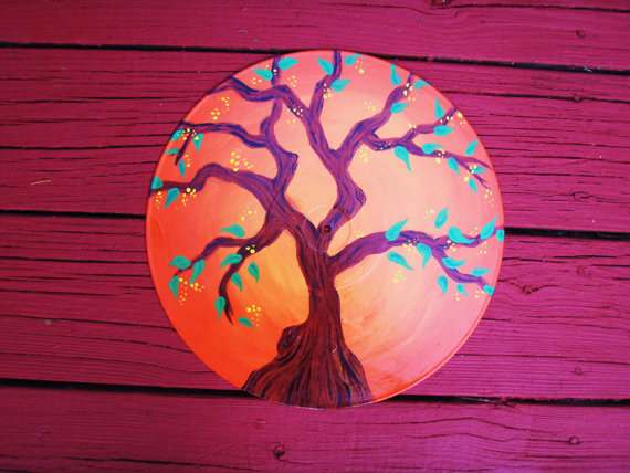 Orange Tree. Recycled Vinyl Record Wall Art.