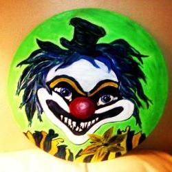 Original Scary Clown Painted on a Recycled Vinyl Record