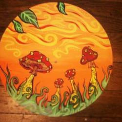 Orange and Red Original Mushroom Paining