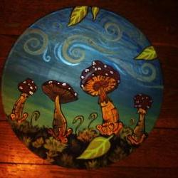 Blue and Red Original Mushroom Paining