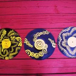 Recycled Vinyl Record Wall Art. Set of Three Originals.