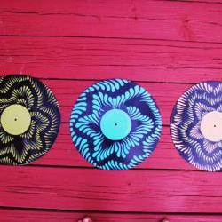 Set of Three Recycled Vinyl Record Wall Hangs